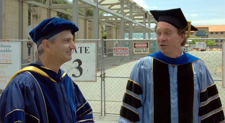 Stephen Boyd & Brad Osgood (right) behind Packard building (amidst construction) prior to Stanford 2009 Commencement